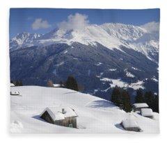 Winter Landscape In The Mountains Fleece Blanket