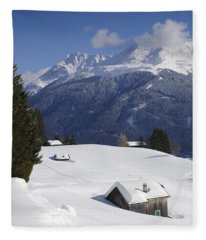 Winter Landscape In The Mountains Fleece Blanket