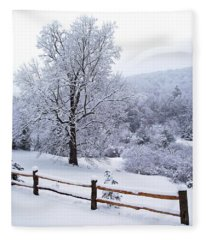 Winter Tree And Fence In The Valley Fleece Blanket