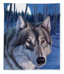 Wolf In Moonlight Fleece Blanket