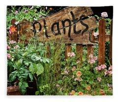 Wooden Plant Sign In Flowers Fleece Blanket