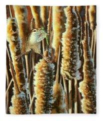 Wren And Cattails 2 Fleece Blanket