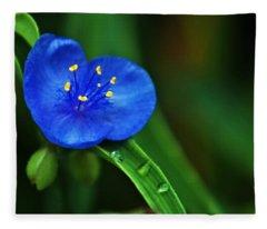 Yellow Blue And Raindrops Fleece Blanket