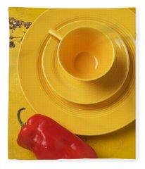Yellow Cup And Plate Fleece Blanket