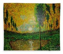 Yellow Pond Fleece Blanket