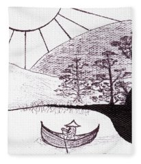 Zen Sumi Asian Lake Fisherman Black Ink On White Canvas Fleece Blanket