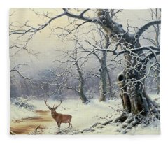 A Stag In A Wooded Landscape  Fleece Blanket