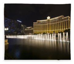 Bellagio Fountain In Las Vegas At Night Fleece Blanket