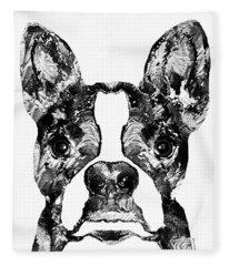 Boston Terrier Dog Black And White Art - Sharon Cummings Fleece Blanket