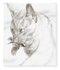 Cat And Chickadee Fleece Blanket