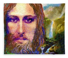 Contemporary Jesus Painting, Chalice Of Life Fleece Blanket
