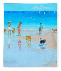 Dog Beach Day Fleece Blanket