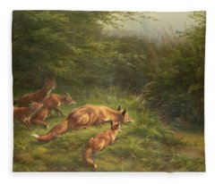 Foxes Waiting For The Prey   Fleece Blanket
