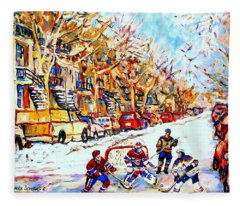 Hockey Game On Colonial Street  Near Roy Montreal City Scene Fleece Blanket