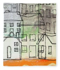 Houses By The River Fleece Blanket