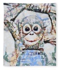 Monkey Rainbow Splattered Fragmented Blue Fleece Blanket