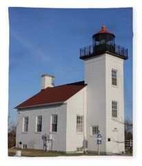 Sand Point Lighthouse Escanaba Fleece Blanket
