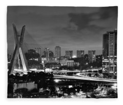 Sao Paulo Iconic Skyline - Cable-stayed Bridge - Ponte Estaiada Fleece Blanket