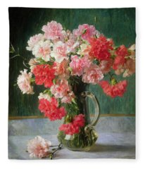 Still Life Of Carnations   Fleece Blanket