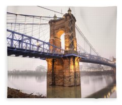 The Roebling Bridge Fleece Blanket