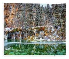 Olena Art Serene Chill Hanging Lake Photograph The Gem Of Glenwood Canyon Colorado Fleece Blanket