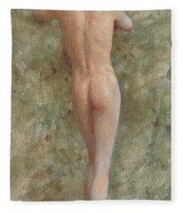 A Standing Male Nude Fleece Blanket