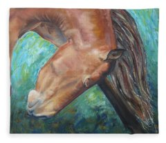 Abstract Horse One Fleece Blanket