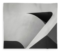 Abstract In Black And White Fleece Blanket