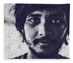 Abstract Portrait Of A Young Man Fleece Blanket