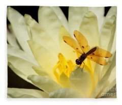 Amber Dragonfly Dancer 2 Fleece Blanket