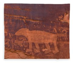 Ancient Native American Petroglyphs On A Canyon Wall Near Moab. Fleece Blanket