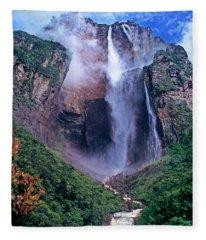 Angel Falls In Canaima National Park Venezuela Fleece Blanket