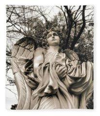 Angel In The Fall Fleece Blanket