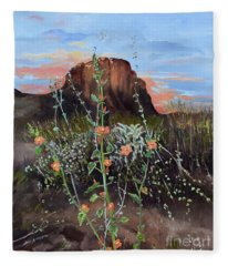 Arizona Desert Flowers-dwarf Indian Mallow Fleece Blanket