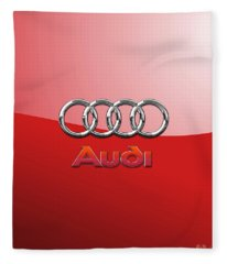 Audi - 3d Badge On Red Fleece Blanket