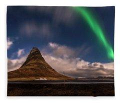 Fleece Blanket featuring the photograph Aurora Blast Kirkjufell, Iceland by Pradeep Raja PRINTS