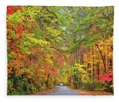 Autumn Travel Fleece Blanket