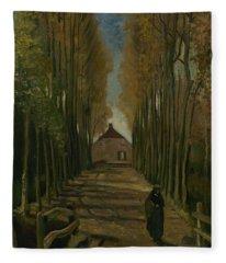 Avenue Of Poplars In Autumn Nuenen, October 1884 Vincent Van Gogh 1853 - 1890 Fleece Blanket