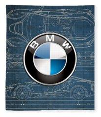 B M W 3 D Badge Over B M W I8 Blueprint  Fleece Blanket