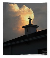 Reaching Baby Angel At The Cross Fleece Blanket
