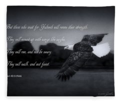 Bald Eagle In Flight With Bible Verse Fleece Blanket