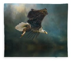 Bald Eagle Swooping Fleece Blanket