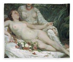 Bathers Or Two Nude Women Fleece Blanket