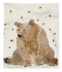 Bear Grizzly  Fleece Blanket
