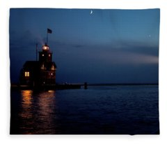 Big Red Lighthouse Holland Michigan With Freighter Fleece Blanket
