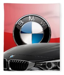Black B M W - Front Grill Ornament And 3 D Badge On Red Fleece Blanket