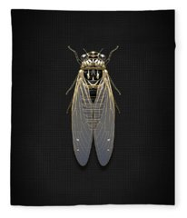 Black Cicada With Gold Accents On Black Canvas Fleece Blanket