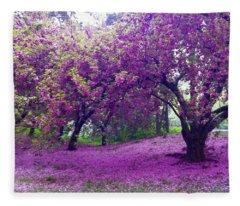 Blossoms In Central Park Fleece Blanket