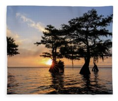 Blue Cypress Lake Morning Fleece Blanket