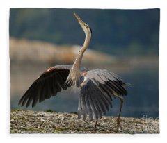 Blue Heron Dance Fleece Blanket
